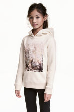 Hooded top with a text motif - Light beige -  | H&M 1