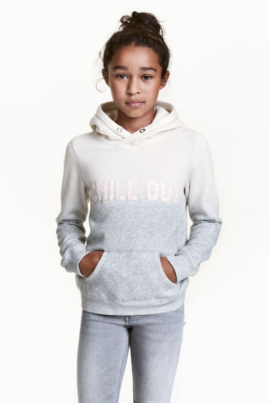 Hooded top with a text motif - Natural white/Grey - Kids | H&M CN