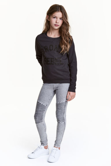 Biker leggings - Grey washed out - Kids | H&M