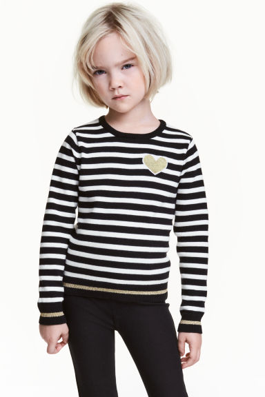 Fine-knit jumper - Black/White/Striped - Kids | H&M CN 1