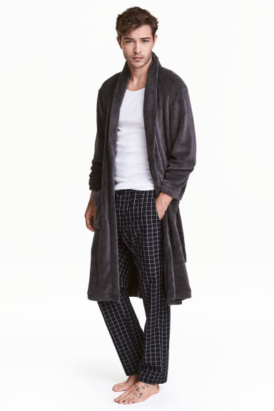 Fleece dressing gown - Dark grey - Men | H&M 1