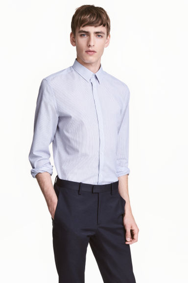 Easy-iron shirt Slim fit - White/Dark blue/Striped - Men | H&M GB