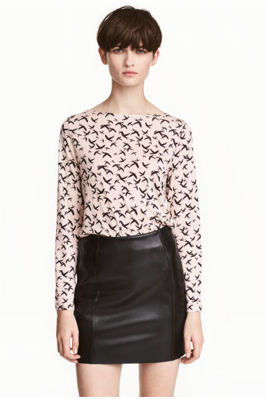 Long-sleeved top - Powder/Birds - Ladies | H&M 1