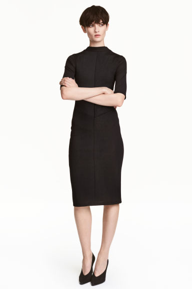 Ribbed dress - Black -  | H&M 1