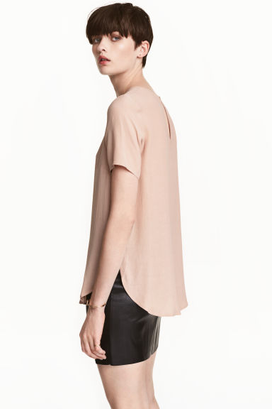 Short-sleeved top - Light beige - Ladies | H&M 1