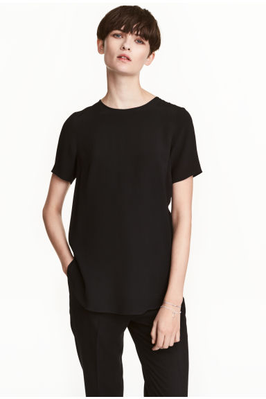 Short-sleeved top - Black - Ladies | H&M CA 1