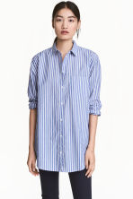 Wide cotton shirt - Blue/White/Striped - Ladies | H&M CN 1