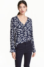 V領女衫 - Dark blue/Patterned - Ladies | H&M 1