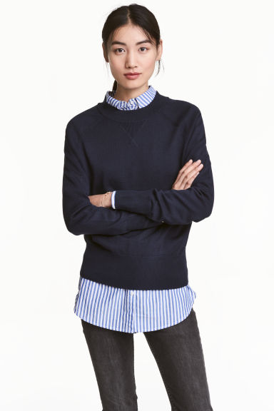 Fine-knit top - Dark blue -  | H&M 1