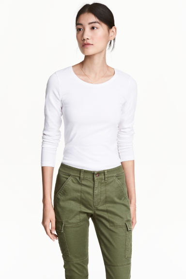 Long-sleeved jersey top - White - Ladies | H&M 1