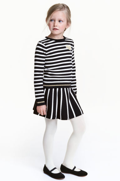 Fine-knit skirt - Black/White/Striped - Kids | H&M CN 1