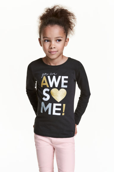 Long-sleeved top - Black - Kids | H&M 1