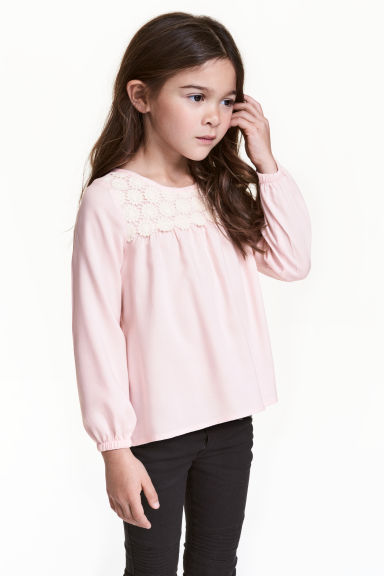 Blouse with lace - Light pink - Kids | H&M 1