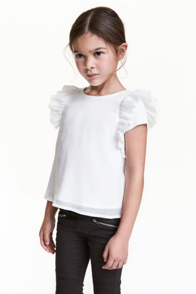 Top with frills - White/Glittery - Kids | H&M