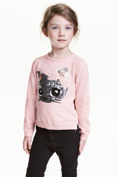Sequined jumper - Light pink/Cat - Kids | H&M 1