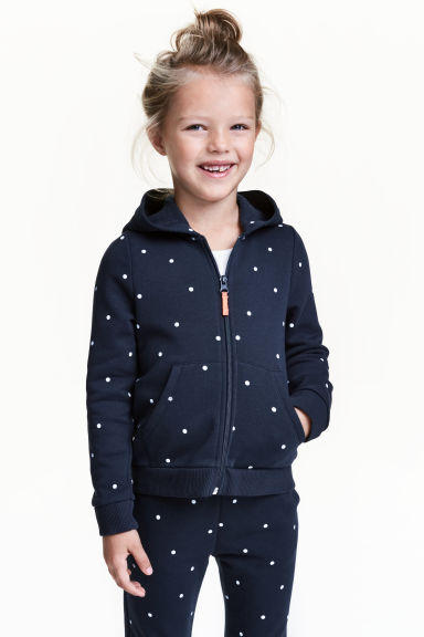 Hooded jacket - Dark blue/Spotted - Kids | H&M