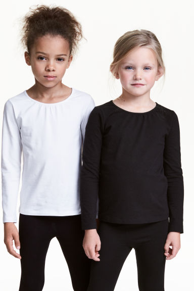 2-pack long-sleeved tops - White - Kids | H&M CN 1
