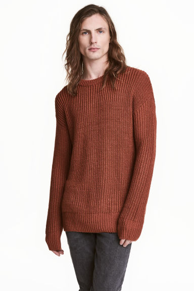 Rib-knit jumper - Rust - Men | H&M