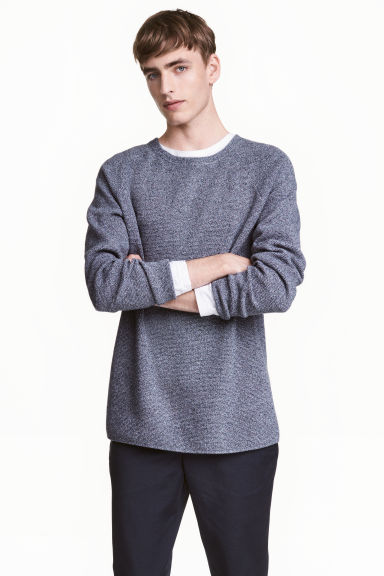 Textured jumper - Dark blue marl - Men | H&M 1