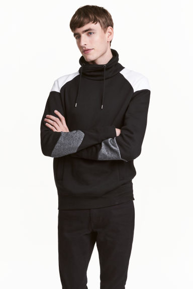 Funnel-collar sweatshirt - Black/White - Men | H&M 1