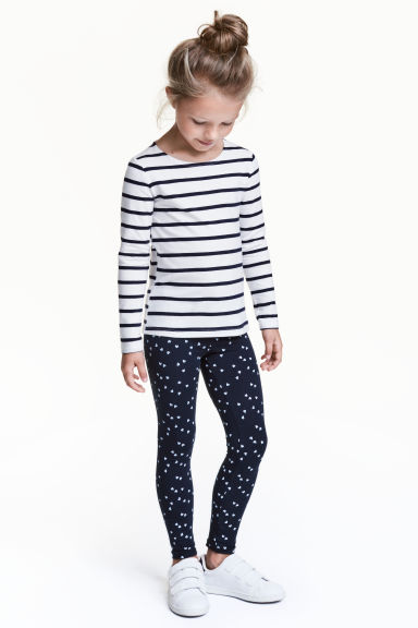 Jersey leggings - Dark blue/Heart - Kids | H&M CN 1