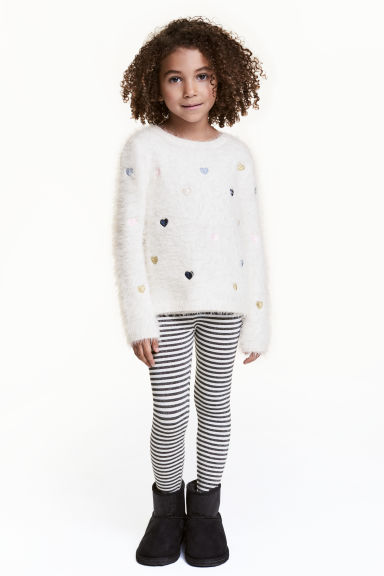 Jersey leggings - White/Black glittery - Kids | H&M CN 1