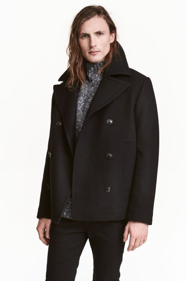 Wool-blend pea coat - Black - Men | H&M 1