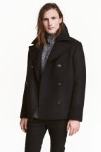 Wool-blend pea coat - Black - Men | H&M CN 1
