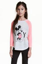 Printed top - Light grey/Mickey Mouse -  | H&M 1