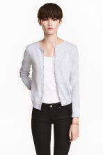 Fine-knit cotton cardigan - Light grey - Ladies | H&M 1