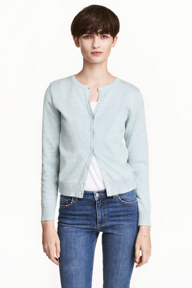 Fine-knit cotton cardigan - Light mint green marl - Ladies | H&M