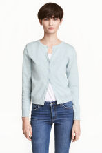 Fine-knit cotton cardigan - Light mint green marl - Ladies | H&M CN 1