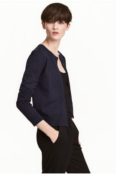 Fine-knit cotton cardigan - Dark blue - Ladies | H&M 1