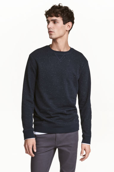 Sweatshirt - Dark blue/Neps - Men | H&M