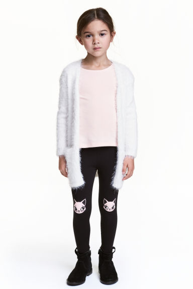 Printed leggings - Black/Cats -  | H&M 1