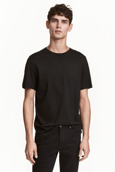 T-shirt girocollo Regular fit - Nero - UOMO | H&M IT