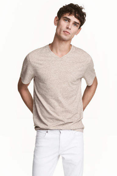 V-neck T-shirt Regular fit - Beige marl - Men | H&M CN