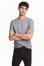 Round-neck T-shirt Slim fit - Grey/Fine stripe - Men | H&M 1