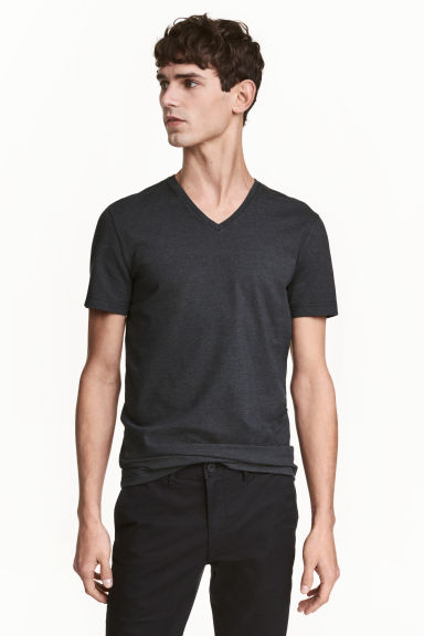 V-neck T-shirt Slim fit - Anthracite grey - Men | H&M