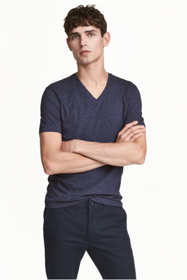 V-neck T-shirt Slim fit - Dark blue marl - Men | H&M 1