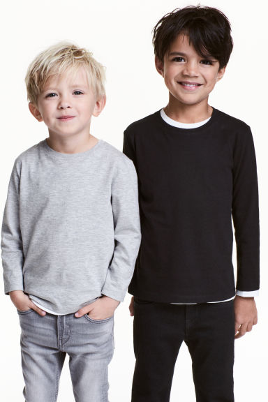 2-pack long-sleeved T-shirts - Black - Kids | H&M CN