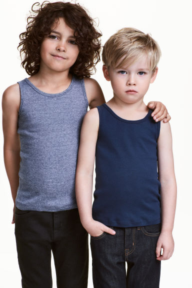 2-pack vest tops - Dark blue - Kids | H&M 1