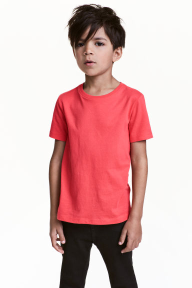 Cotton T-shirt - Coral red -  | H&M