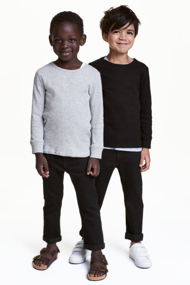 2-pack Slim Jeans - Dark denim blue/Black - Kids | H&M 1