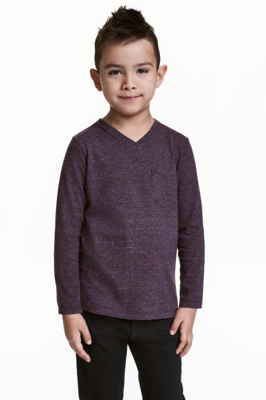 Long-sleeved T-shirt - Dark purple marl -  | H&M 1