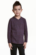 Long-sleeved T-shirt - Dark purple marl - Kids | H&M 1
