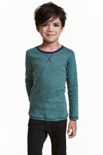 Long-sleeved T-shirt - Green/Narrow striped -  | H&M CN 1