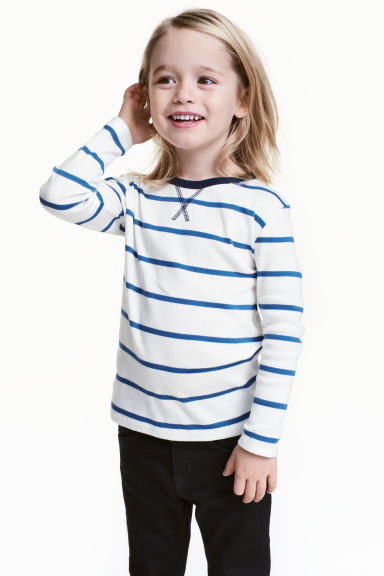 Long-sleeved T-shirt - White/Blue striped -  | H&M CN 1