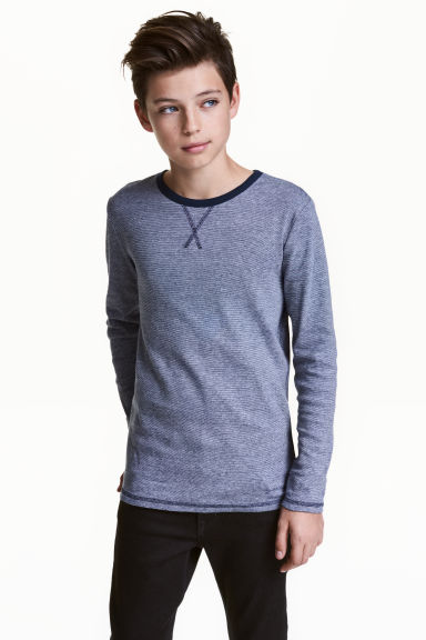 Long-sleeved T-shirt - Dark blue/Narrow striped - Kids | H&M