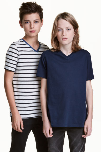 2-pack V-neck T-shirts - Dark blue -  | H&M